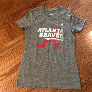 Kids V neck Atlanta Braves tee size 14